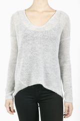 Helmut Lang Asymmetrical Hem Sweater Top  Light Grey in Gray (grey) - Lyst
