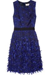 Lela Rose Ribbon-Fringed Organza Dress - Lyst