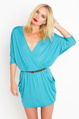 Nasty Gal Draped Across Dress - Turquois - Lyst