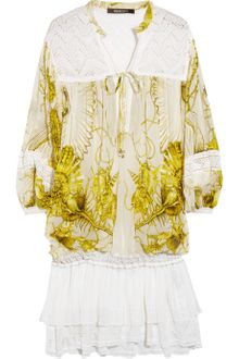 Roberto Cavalli Printed Silk-Chiffon And Crochet Dress - Lyst