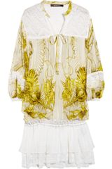 Roberto Cavalli Printed Silk-Chiffon And Crochet Dress