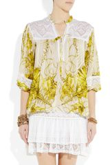 Roberto Cavalli Printed SilkChiffon And Crochet Dress in Yellow - Lyst