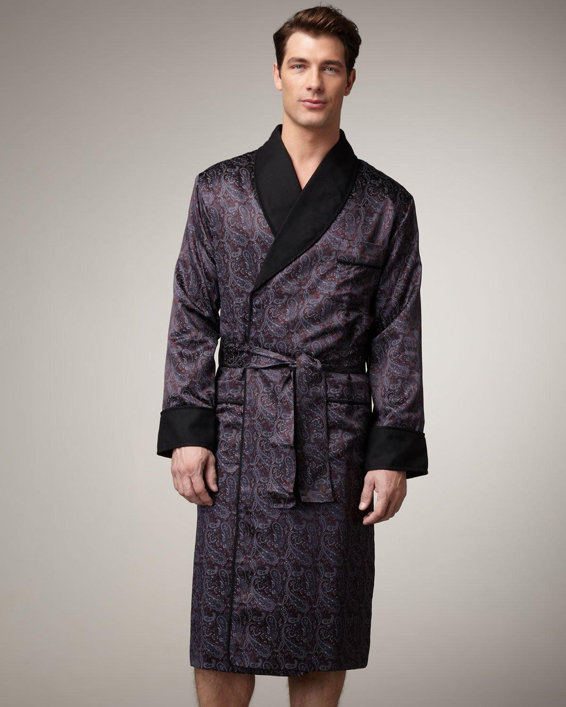 Robe: Stefano Ricci Silk Paisley Robe In Black For Men