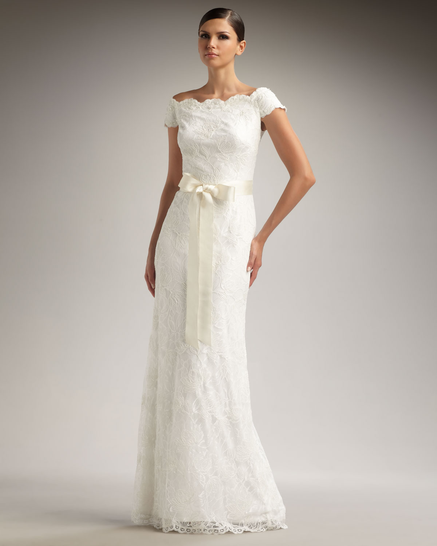 7da1cfbf22ca9 Tadashi Shoji Off-the-shoulder Lace Gown in White - Lyst