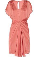 Temperley London Venus Draped Silk Dress in Pink (coral) - Lyst