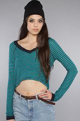 Free People The Striped Swit Cropped Long Sleeve Top in Teal - Lyst