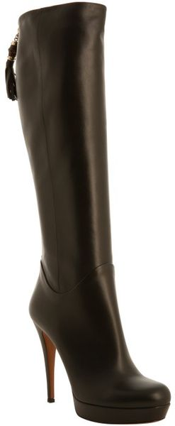 Gucci Black Leather Bamboo Tassel Tall Boots In Black Lyst