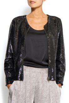 Mango Cropped Jacket in A Sequin Fabric - Lyst