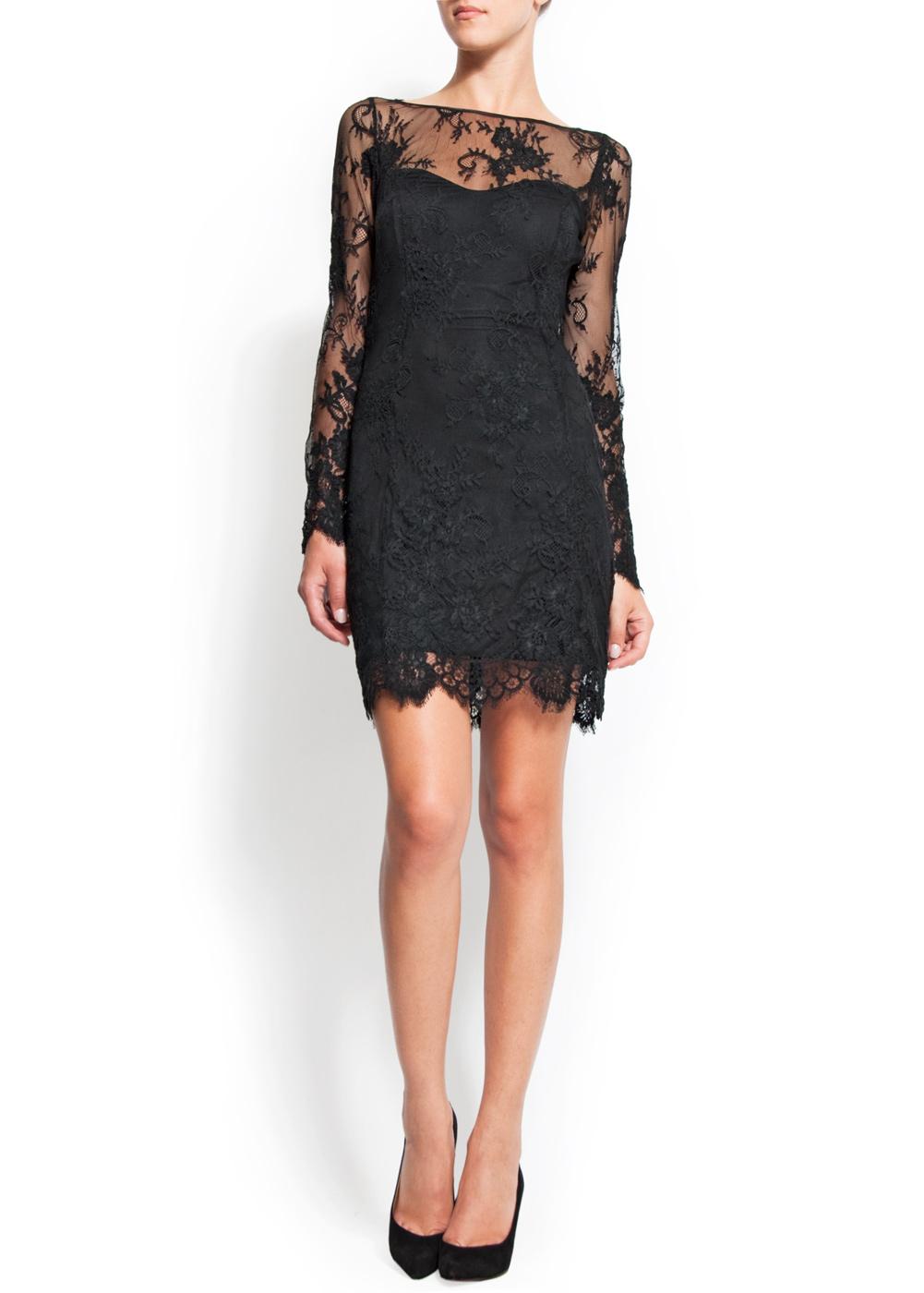 Mango Lace Dress In Black Lyst