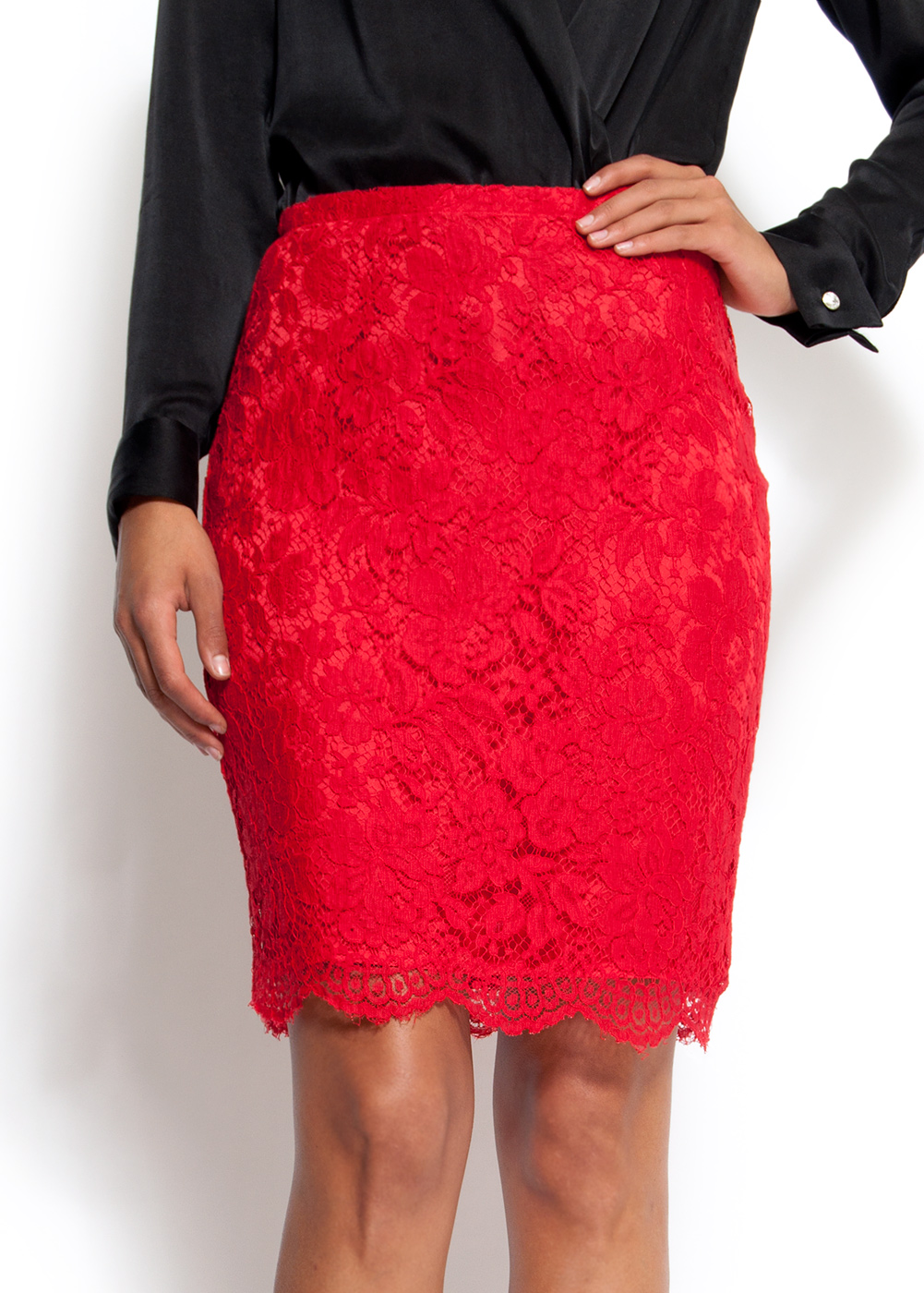 Mango Slim-fit High-waist Lace Skirt in Red | Lyst