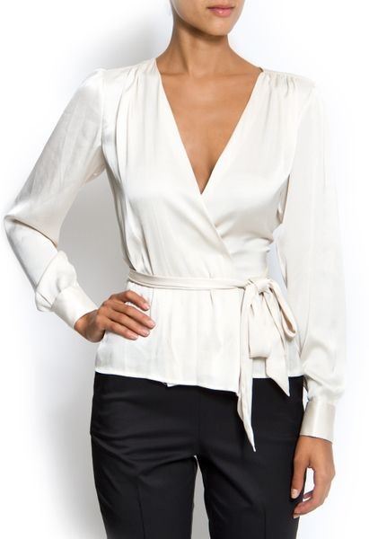 Zara White Wrap Blouse 28
