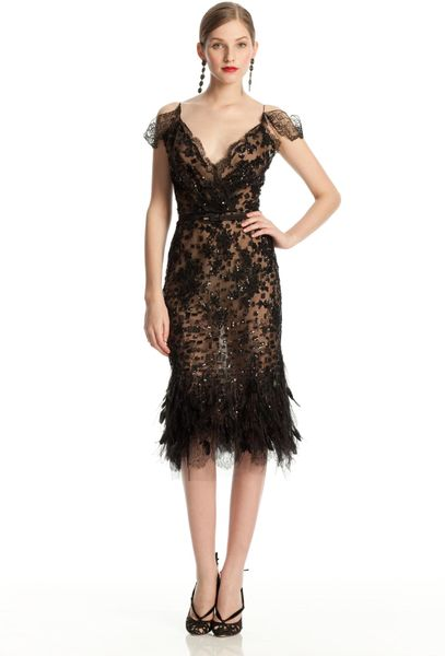 Oscar De La Renta Feather Hem Dress In Black Lyst
