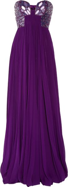 Roberto Cavalli Embellished Silk-Chiffon Bustier Gown in Purple