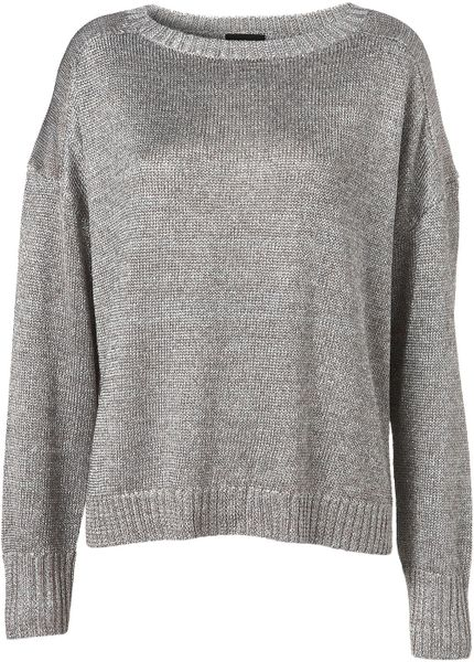 Topshop Knitted Lurex Slouchy Jumper in Silver Lyst