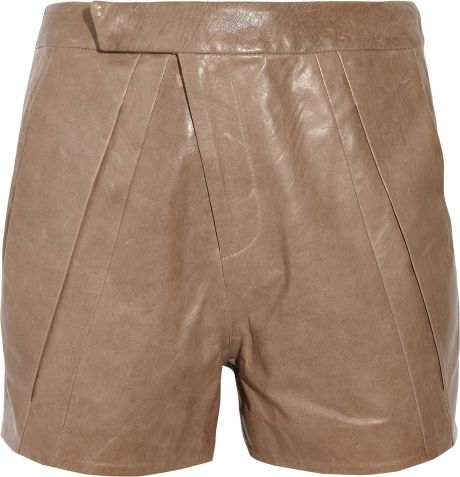 Zero + Maria Cornejo Uma Leather Shorts in Brown
