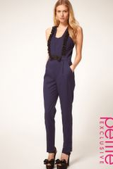 ASOS Collection Asos Petite Exclusive Tuxedo Jumpsuit with Ruffle Detail - Lyst