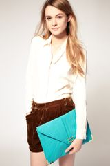 Asos Collection Asos Slot Through Portfolio Clutch in Blue (turquoise) - Lyst