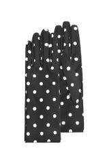 Forzieri Womens Black and White Polkadot Gloves