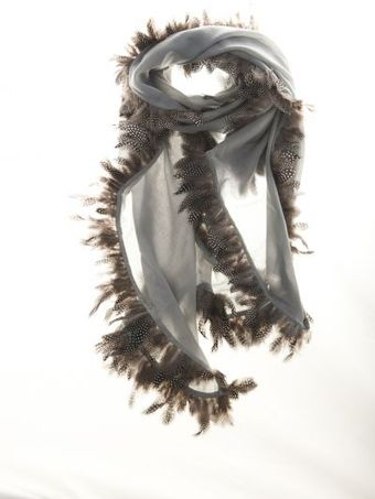 Hayley Menzies Cashmere Shawl with Feather Trim - Lyst