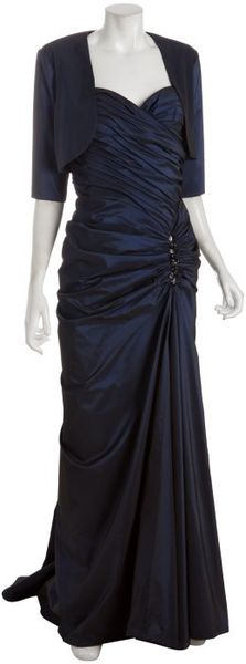Tadashi Shoji Midnight Taffeta Strapless Long Dress with Bolera in Blue (midnight) - Lyst
