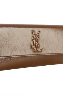 Yves Saint Laurent Tobacco Glazed Leather Belle De Jour Clutch - Lyst