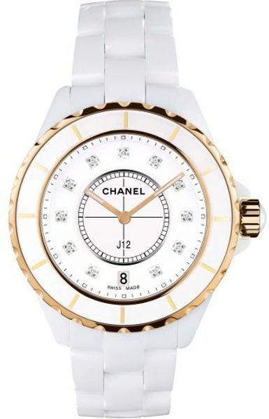 Chanel J12 33mm Pink Gold Watch in White (pink)