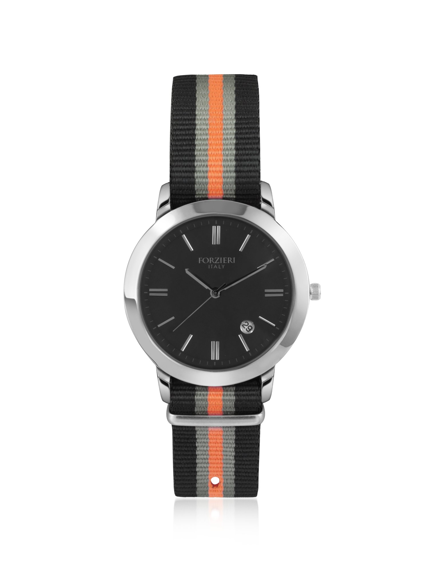 Lyst Forzieri Cesare Black Fabric Strap Date Watch In