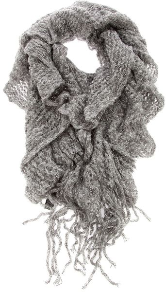 Missoni Ruffle Scarf in Gray (grey) - Lyst