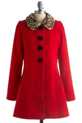 ModCloth Red It All Before Coat - Lyst