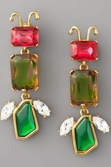 Oscar de la Renta Crystal Insect Clip Earrings - Lyst