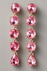 Oscar de la Renta Crystal Drop Clip Earrings, Rose - Lyst