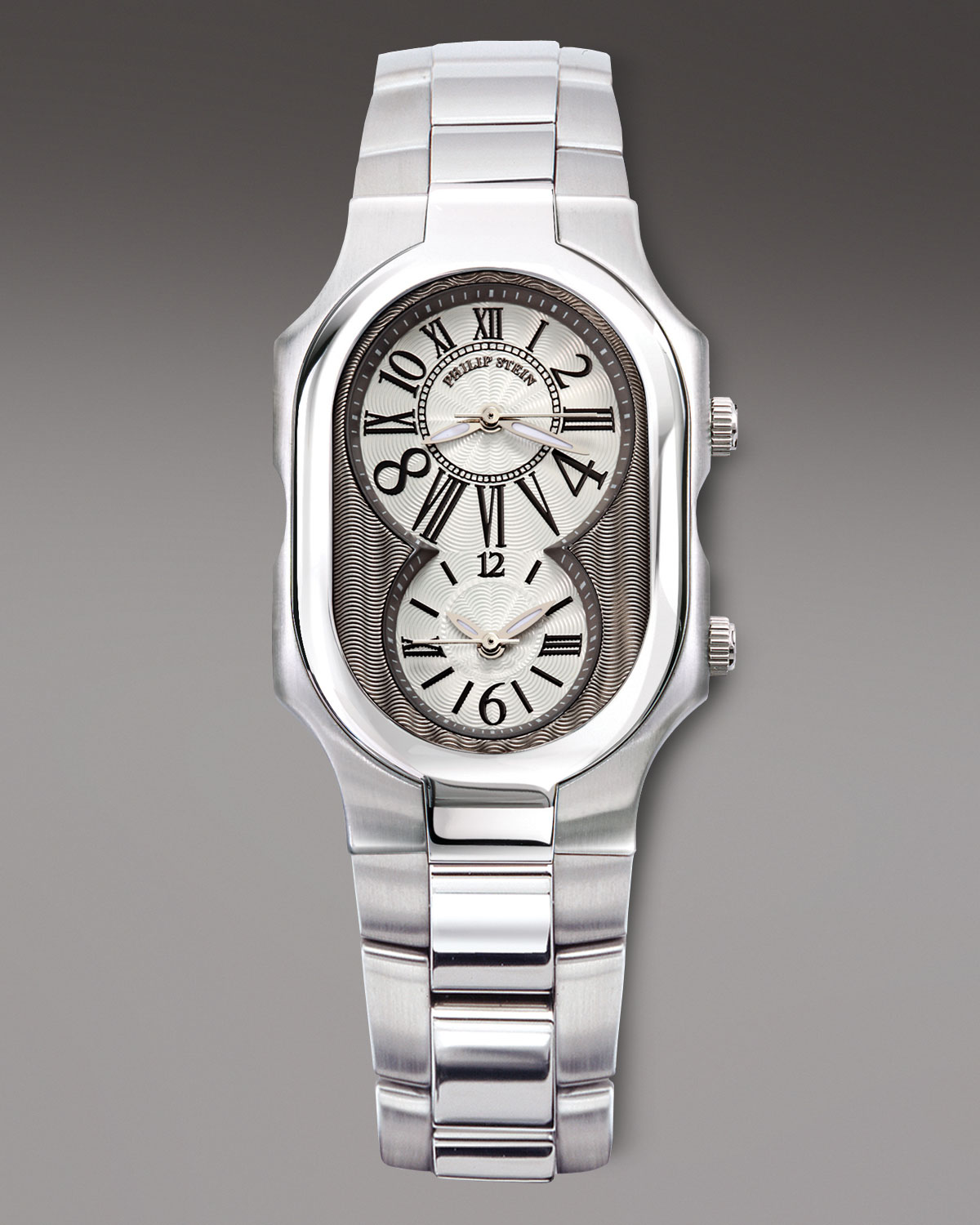 philip stein dual time zone bracelet in metallic for