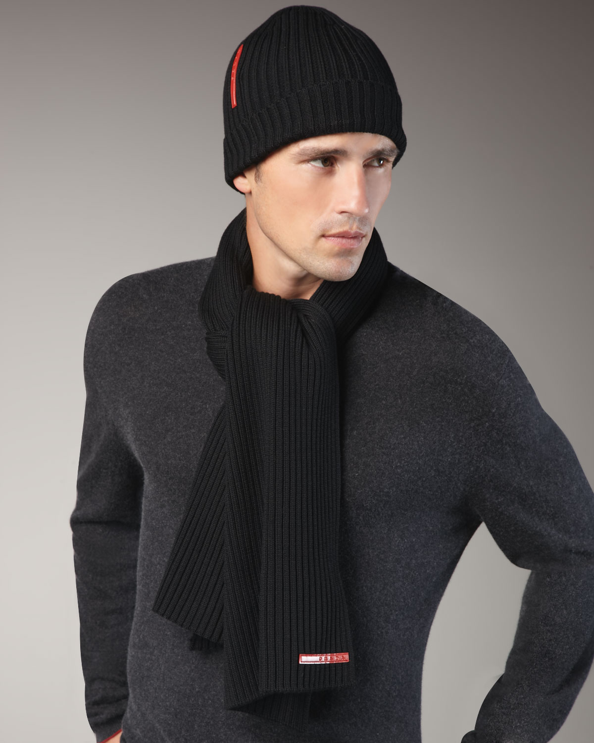 6fec56f67cd ... usa prada ribbed virgin wool beanie lyst prada knit scarf black in  black for men 3dff4