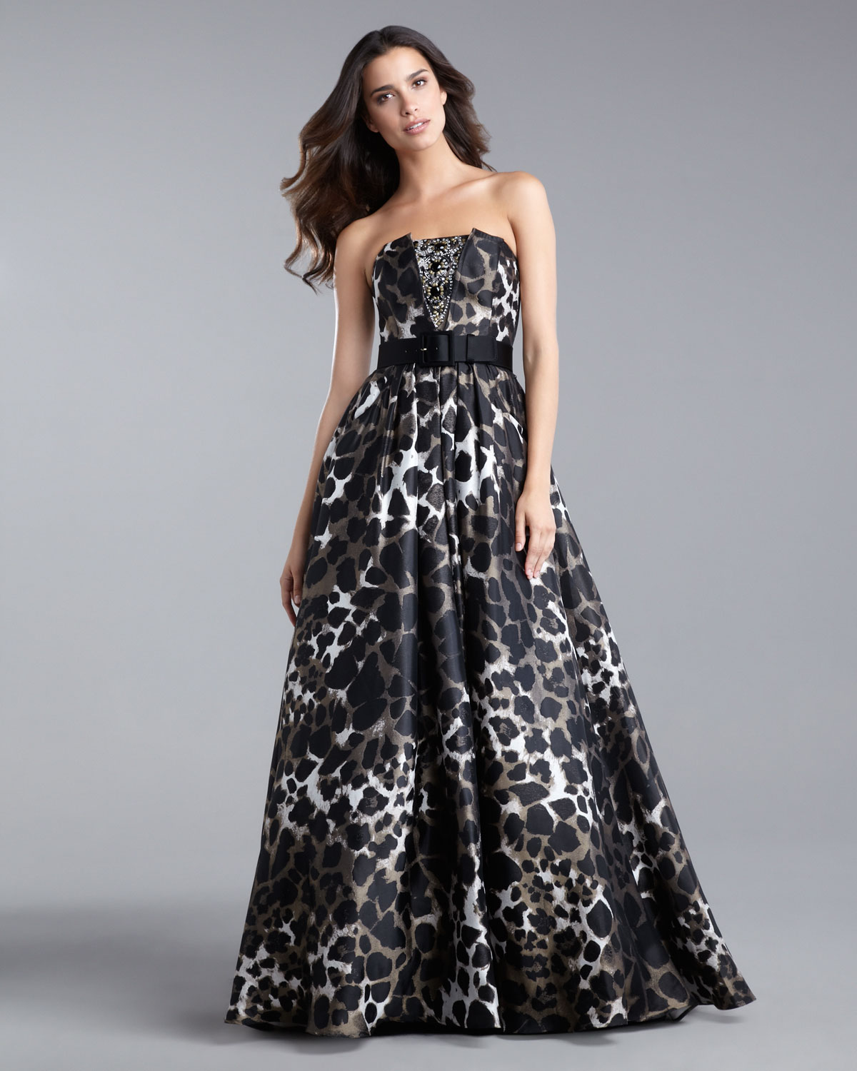 St. john Leopard Shadow Ball Gown in Black | Lyst