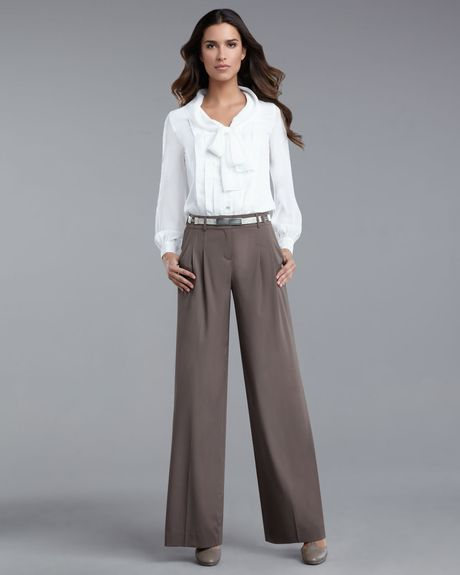 St. John Collection Wideleg Pants in Brown - Lyst
