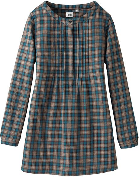 Uniqlo women flannel check pull over long sleeve tunic a for Ladies brown check shirt