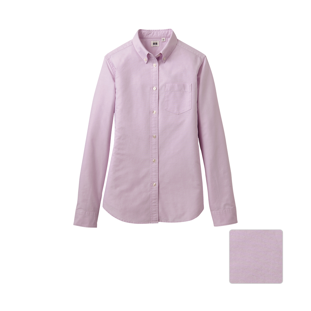 Uniqlo Women Oxford Long Sleeve Shirt D In Pink Lyst