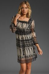 Anna Sui Aztec Stripe Print Dress in Black/cream Multi - Lyst