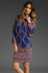 Anna Sui Etched Nouveau Border Print Dress in Electric Blue/nude Multi - Lyst