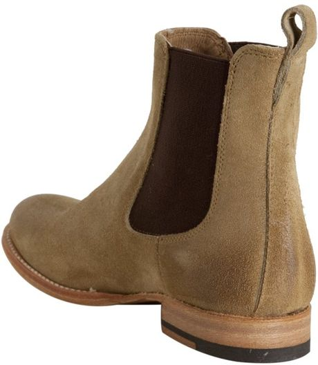 frye sand suede erin chelsea slip on ankle boots in beige sand lyst. Black Bedroom Furniture Sets. Home Design Ideas