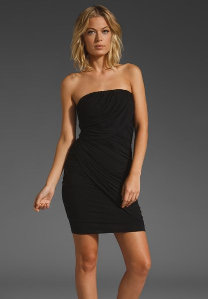 Plenty By Tracy Reese Draped Strapless Dress in Black - Lyst