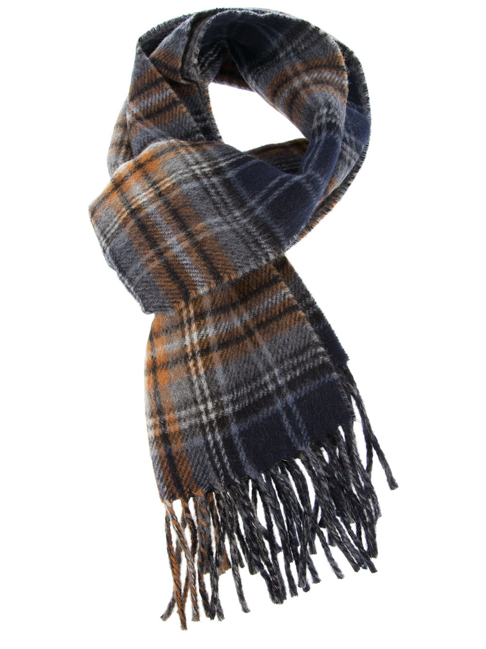 polo ralph checked scarf in blue for lyst