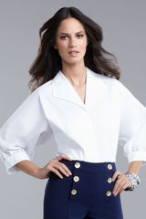 St. John Collection Poplin Blouse in White - Lyst