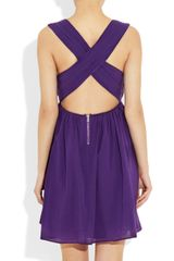 Alice + Olivia Caprice Pleated Cottonblend Dress in Purple - Lyst
