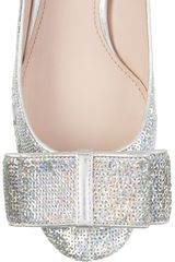Miu Miu Sequined Leather Pumps in Silver - Lyst
