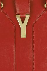 Yves Saint Laurent Cabas Chyc Leather Tote in Red - Lyst