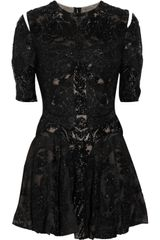 Alexander McQueen Embellished Mesh and Silk Dress - Lyst