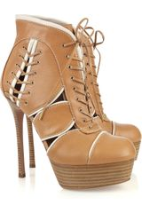 Alexander McQueen Lace-Up Leather Ankle Boots - Lyst