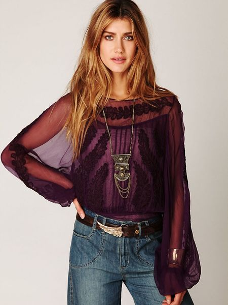 Free People Embroidered Sheer High Neck Top in Purple (plum) - Lyst