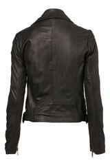 Topshop Traditional Biker Jacket in Black - Lyst